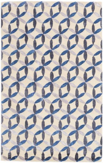 CarvedCasual Blue Area rug 5x8 Indian Hand Tufted 197347