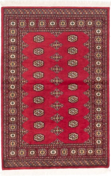 Traditional Red Area rug 3x5 Pakistani Hand-knotted 204918
