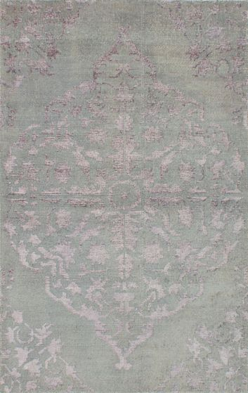 Transitional Blue Area rug 5x8 Indian Hand-knotted 221984