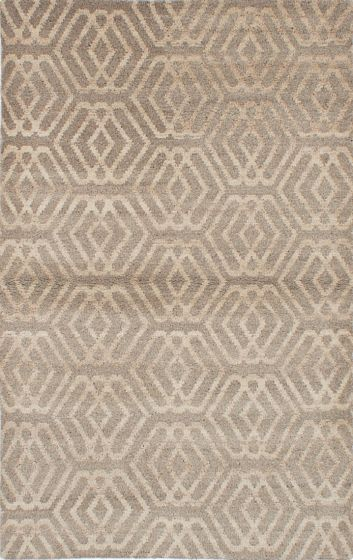 Transitional Ivory Area rug 5x8 Indian Hand-knotted 222099