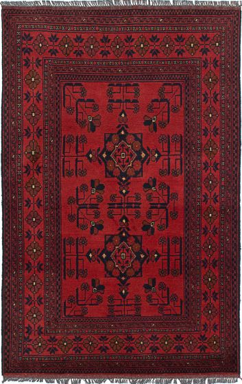 Geometric  Tribal Red Area rug 3x5 Afghan Hand-knotted 235751
