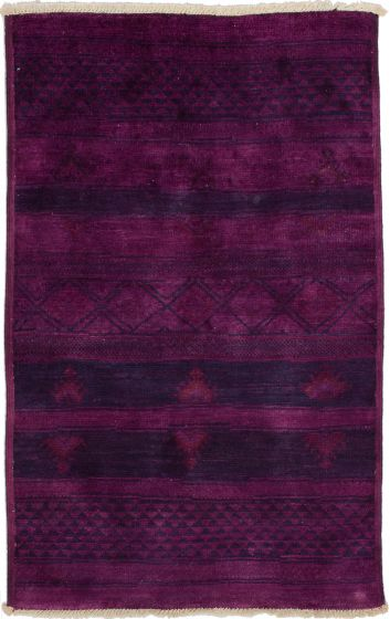 Casual  Transitional Purple Area rug 3x5 Indian Hand-knotted 280137