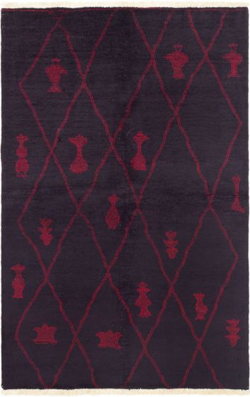 Moroccan  Transitional Red Area rug 5x8 Indian Hand-knotted 280551