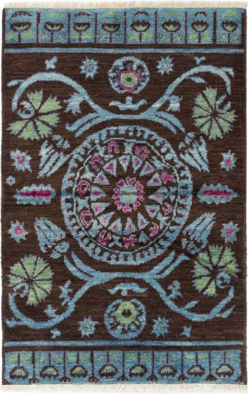 Casual  Transitional Brown Area rug 3x5 Indian Hand-knotted 280608