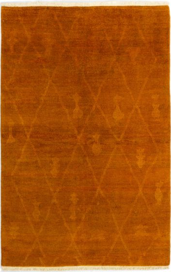 Moroccan  Transitional Brown Area rug 5x8 Indian Hand-knotted 280637