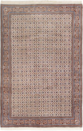 Bordered  Traditional Ivory Area rug 6x9 Indian Hand-knotted 280641