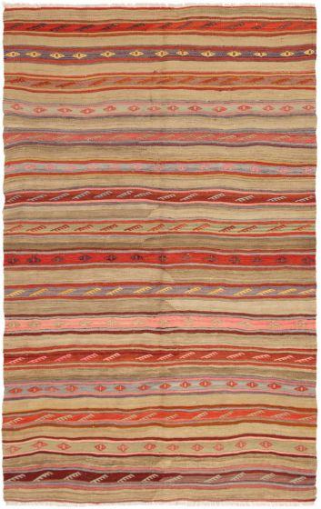 Bohemian  Tribal Green Area rug 5 x 9 Turkish Flat-weave 288740