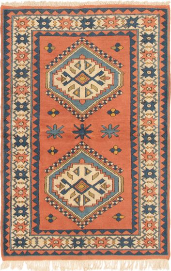 Bordered  Traditional Brown Area rug 4x6 Turkish Hand-knotted 293841