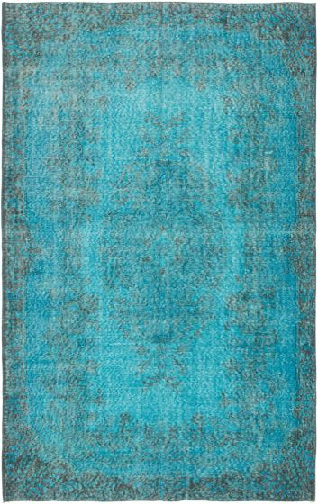 Bordered  Transitional Blue Area rug 5x8 Turkish Hand-knotted 295739