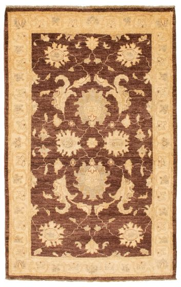 Bordered  Traditional Brown Area rug 3x5 Afghan Hand-knotted 336869