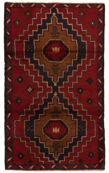 Bordered  Tribal Red Area rug 3x5 Afghan Hand-knotted 357124