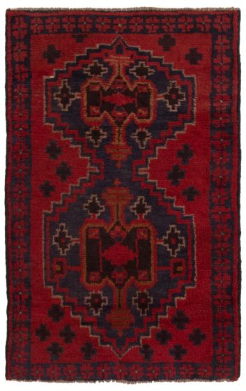 Bordered  Tribal Red Area rug 3x5 Afghan Hand-knotted 360572