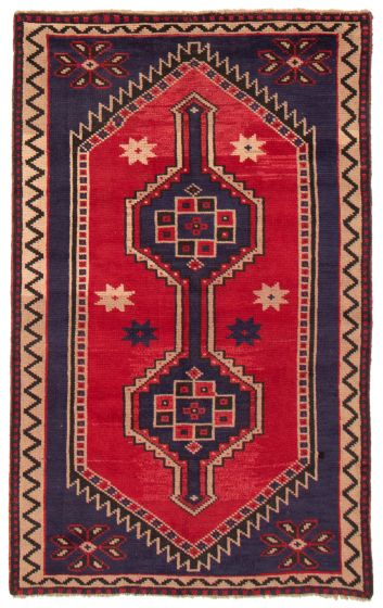 Bordered  Tribal Red Area rug 5x8 Turkish Hand-knotted 367135