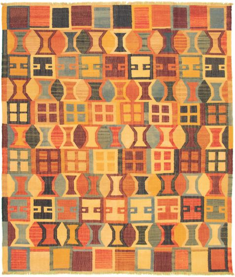 Casual  Transitional Multi Area rug 6x9 Turkish Flat-weave 335824