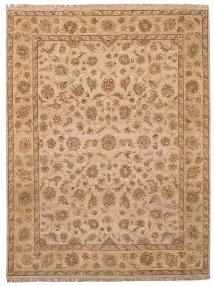 Bohemian  Southwestern Ivory Area rug 9x12 Indian Hand-knotted 254070