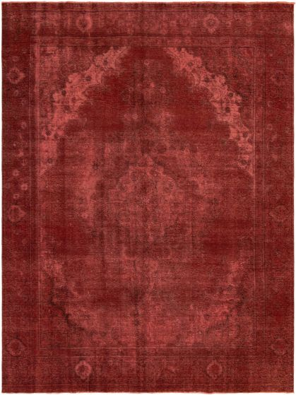 Bordered  Transitional Red Area rug 9x12 Turkish Hand-knotted 295641