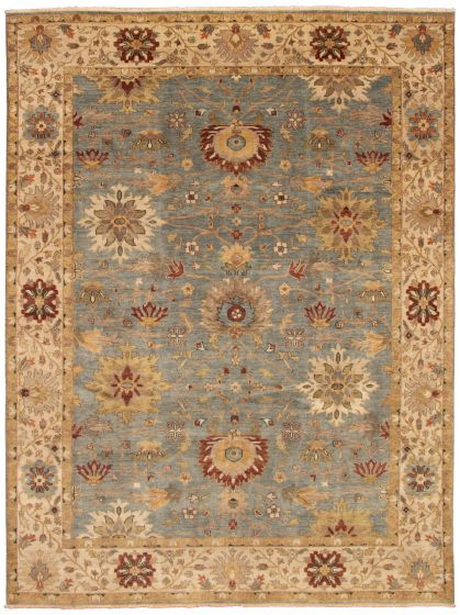 Bordered  Traditional Blue Area rug 9x12 Indian Hand-knotted 328525