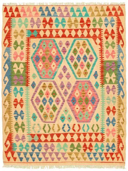 Bordered  Geometric Grey Area rug 3x5 Turkish Flat-weave 330204