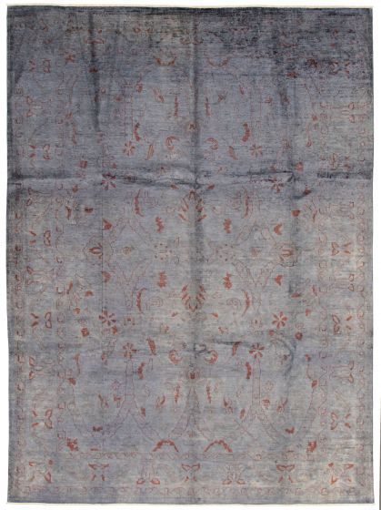 Bordered  Transitional Grey Area rug 9x12 Pakistani Hand-knotted 337545
