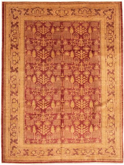 Bordered  Traditional Red Area rug 10x14 Afghan Hand-knotted 338453