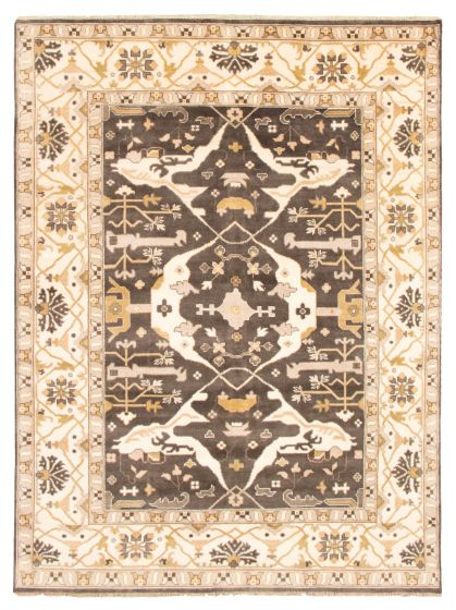 Bordered  Traditional Grey Area rug 9x12 Indian Hand-knotted 344849