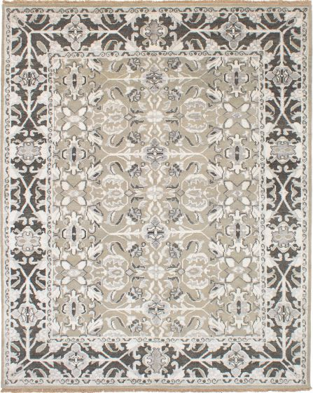 Bohemian  Traditional Green Area rug 6x9 Indian Hand-knotted 271712