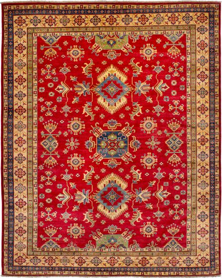 Bordered  Geometric Red Area rug 8x10 Afghan Hand-knotted 272426