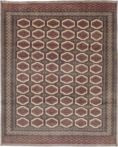 Bordered  Geometric Grey Area rug 8x10 Pakistani Hand-knotted 272998