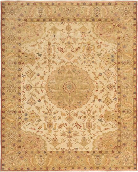 Bordered  Traditional Ivory Area rug 9x12 Turkish Hand-knotted 280872