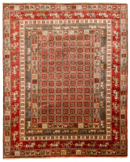 Tribal Red Area rug 6x9 Indian Hand-knotted 313336