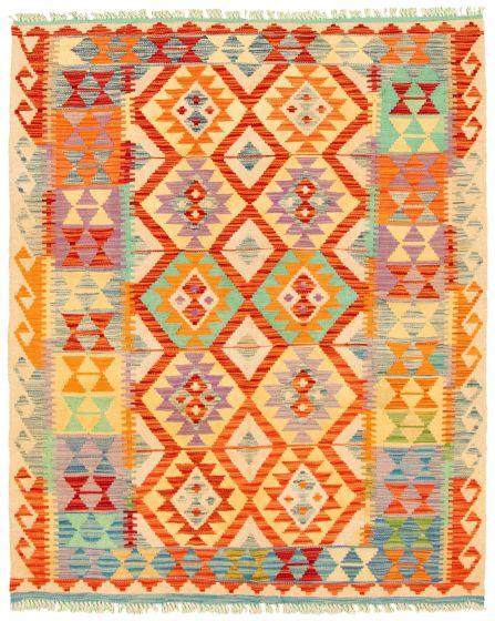 Bordered  Geometric Multi Area rug 4x6 Turkish Flat-weave 330220