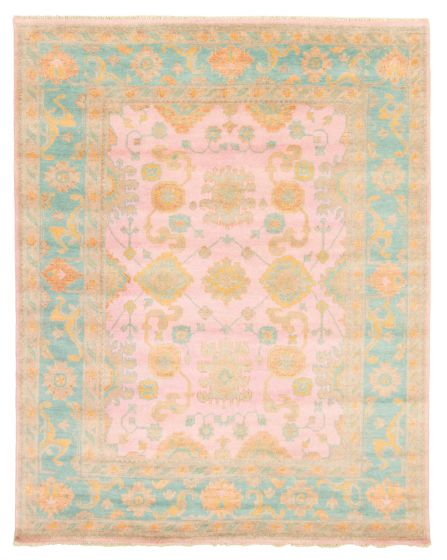 Bordered  Traditional Pink Area rug 6x9 Indian Hand-knotted 344874