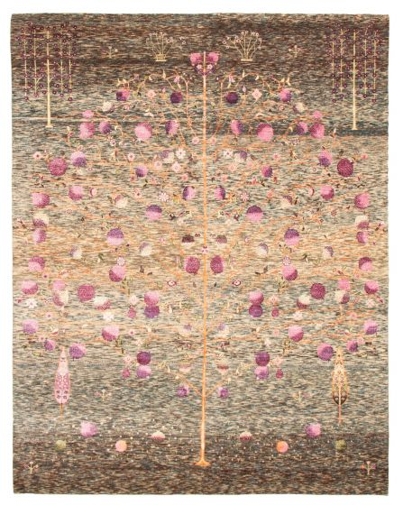 Casual  Transitional Green Area rug 6x9 Indian Hand-knotted 345521