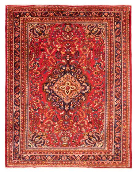 Bordered  Traditional Red Area rug 9x12 Persian Hand-knotted 366589