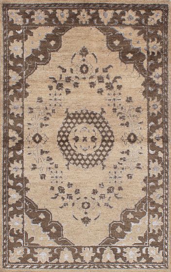 Traditional Ivory Area rug 5x8 Indian Hand-knotted 222038