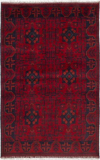 Traditional  Tribal Red Area rug 3x5 Afghan Hand-knotted 236257