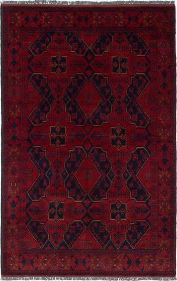 Traditional Red Area rug 3x5 Afghan Hand-knotted 236275