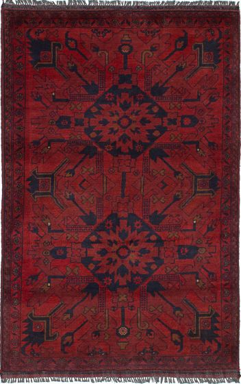 Geometric  Tribal Red Area rug 3x5 Afghan Hand-knotted 236325