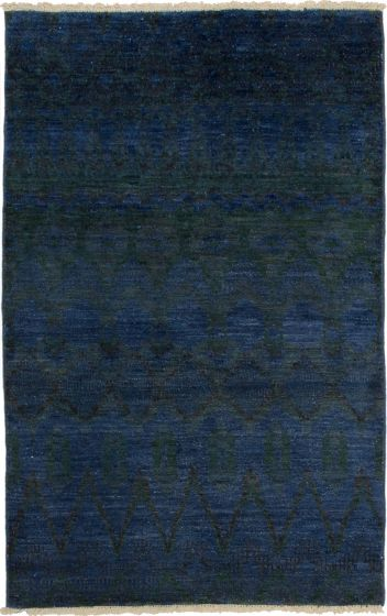 Casual  Transitional Blue Area rug 3x5 Indian Hand-knotted 280096