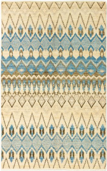 Casual  Transitional Ivory Area rug 5x8 Indian Hand-knotted 280293