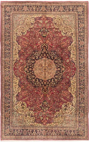 Bordered  Traditional Red Area rug Unique Turkish Hand-knotted 280984