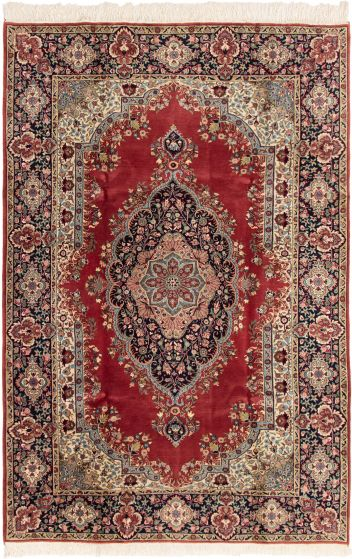 Bordered  Traditional Red Area rug 6x9 Turkish Hand-knotted 293279