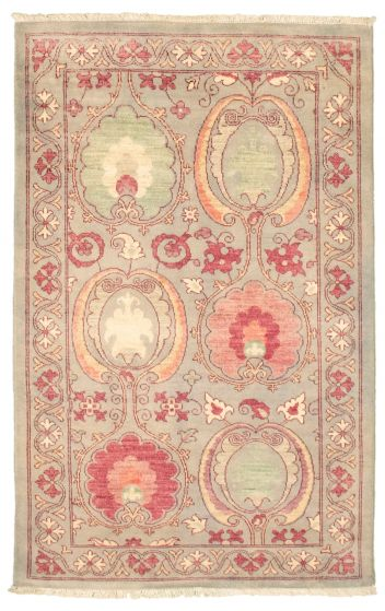 Bordered  Transitional Grey Area rug 3x5 Pakistani Hand-knotted 342106