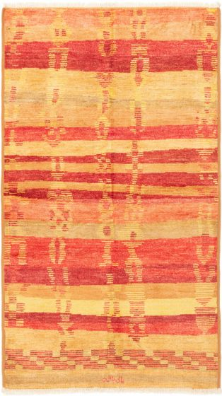 Stripes  Transitional Red Area rug 5x8 Indian Hand-knotted 280530