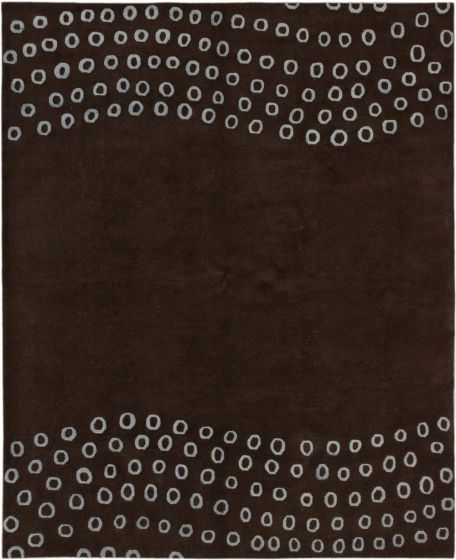 BohemianContemporary Brown Area rug 6x9 Nepal Hand-knotted 186923