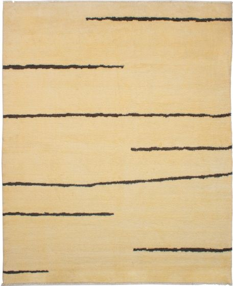 Moroccan  Transitional Ivory Area rug 8x10 Moroccan Hand-knotted 272182