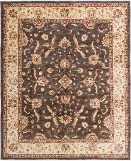 Bordered  Traditional Brown Area rug 6x9 Afghan Hand-knotted 280376