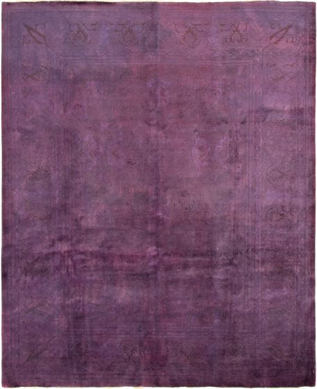 Overdyed  Transitional Purple Area rug 8x10 Afghan Hand-knotted 294079