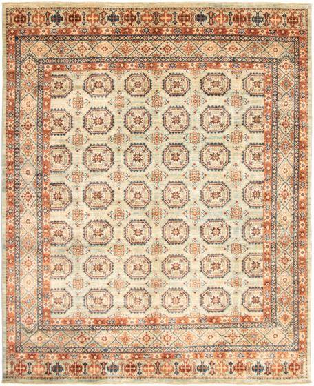 Bordered  Tribal Blue Area rug 6x9 Pakistani Hand-knotted 319619