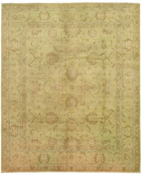 Bordered  Transitional Green Area rug 6x9 Pakistani Hand-knotted 330504